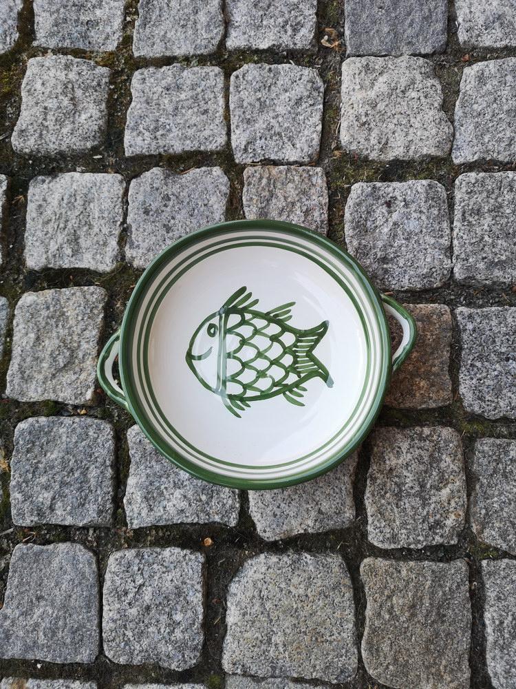 1100 Ft zöld fehér füles tányér