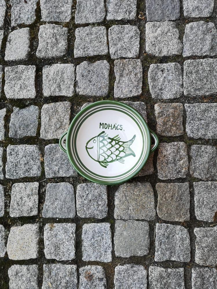 Halas tányér zöld fehér füles 1100 Ft